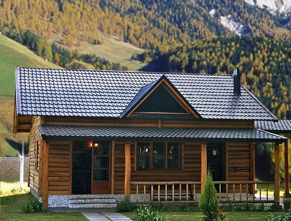 Stampin marek francesa cincalum color for Casas con techos de chapa de color